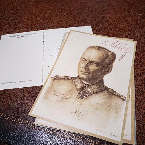 Generalfeldmarschall Günther von Kluge - reproduction of autographed postcard from Third Reich.