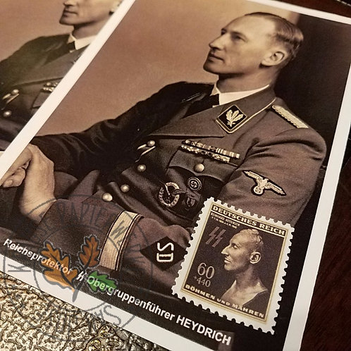 Reinhard Tristan Eugen Heydrich - postcard with a commemorative post stamp. Issued on the first anniversary of assassination.