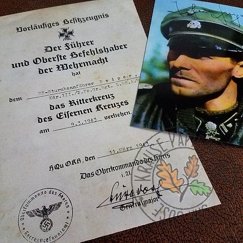 Joachim (Jochen) Peiper - preliminary Knight's Cross award certificate with autographed color photo.