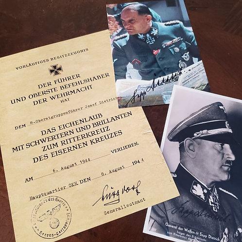 Dietrich - Certificate for Knight's Cross with Oak-leaves, Swords & Diamonds