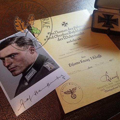 Claus Schenk Graf von Stauffenberg - Iron Cross 1st Class award citation (document/certificate) with signed/autographed photo
