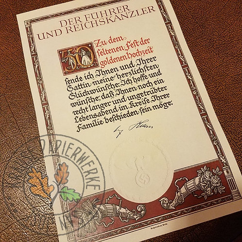 50 years wedding anniversary - congratulations from Adolf Hitler - reproduction of diploma / document from the Third Reich
