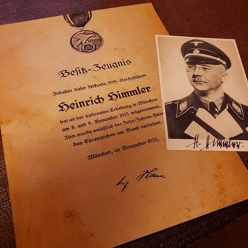 Reichsfuhrer SS Heinrich Himmler - Blood Order award citation/document (Blutorden Besitzzeugnis))