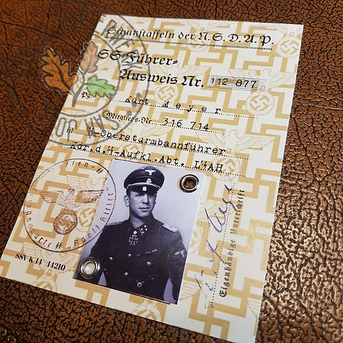 Kurt Meyer (Panzermeyer) - reproduction of SS ID with photo, signature and validity stamp.