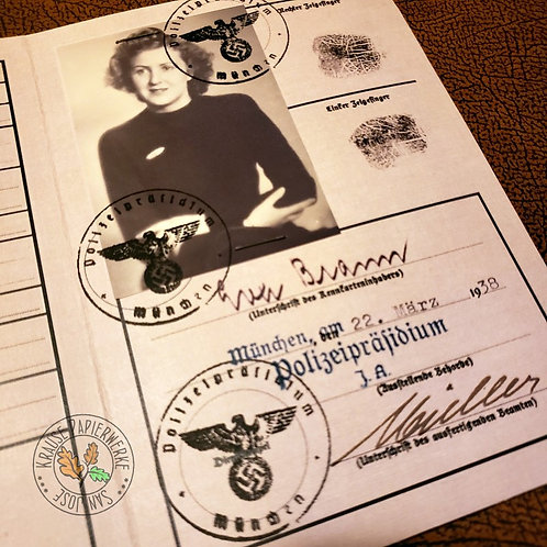 Eva Braun (Eva Hitler) - reproduction of photo ID (Kennkarte) - photo & signature page