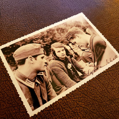 Sophie Scholl - autographed photograph with vintage edges. In the picture with her brother Hans Scholl and Christoph Probst.