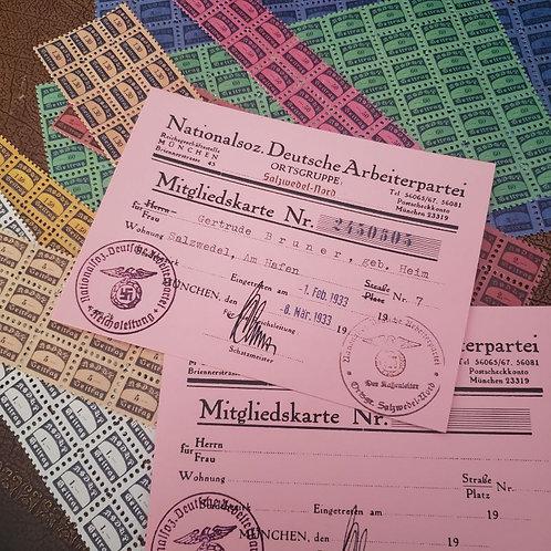 NSDAP Membership Card, 2nd edition (NSDAP Mitgliedskarte)