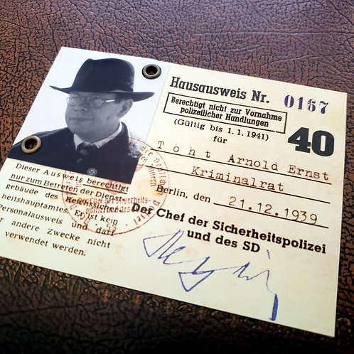 Arnold Toht - Pass for Reich Main Security Office (Gestapo) - from Indiana Jones and the Raiders of the Lost Ark.