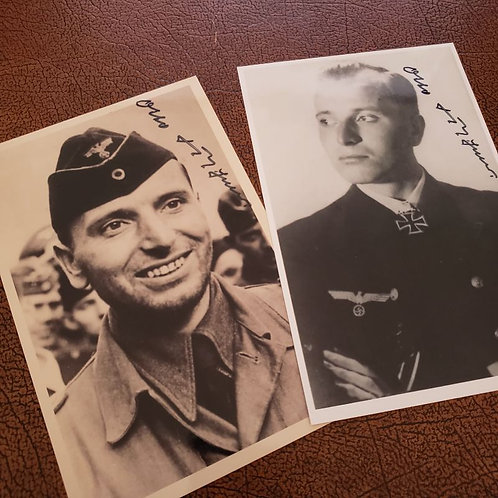 Otto Kretschmer - the most successful German U-boat commander in the Second World War - 2 signed photos (autographed picture)