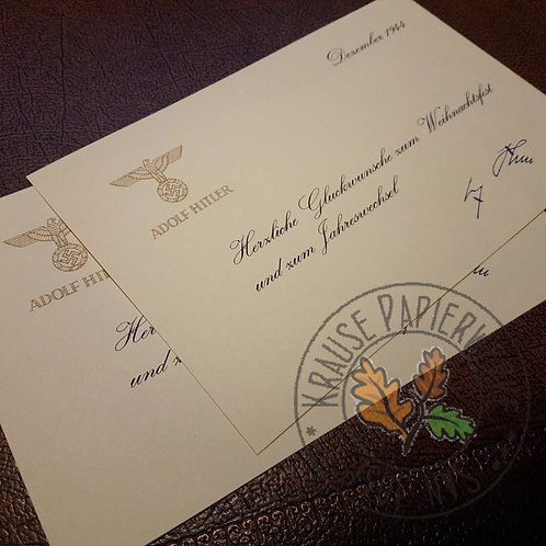 Signed Christmas Card from Adolf Hitler (late war version). For years 1943 and 1944. Signed by the Führer in blue ink.