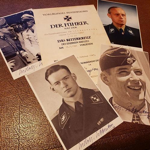 Rudolf von Ribbentrop - Knight's Cross of Iron Cross award certificate and autographed photos, incl. Joachim von Ribbentrop