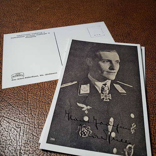 Hans-Joachim Marseille - reproduction of autographed postcard of the Luftwaffe ace of the Third Reich. Krause Papierwerke.