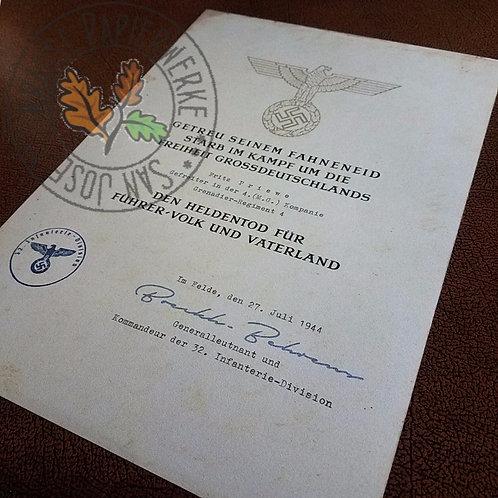 Hero's Death (Heldentod) Certificate - Heer / Wehrmacht; aged version