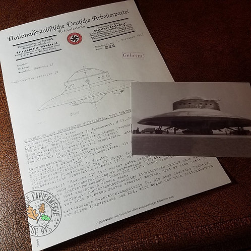 Nazi UFO (Haunebu II) - NSDAP Headquarters letter with specifications and a photo of the flying saucer.