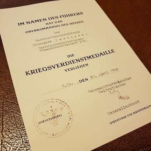 War Merit Medal award certificate (document, citation); Kriegsverdienstmedaille Besitzzeugnis (Urkunde, Verliehungsurkunde)