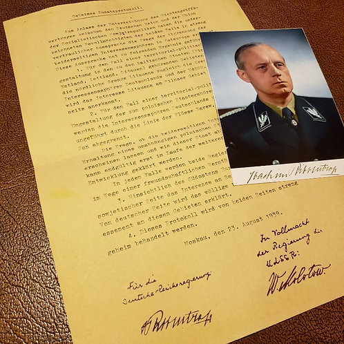 Ribbentrop-Molotov Pact - Secret Clause with signed photograph of Joachim von Ribbentrop. Reproduction by Krause Papierwerke,