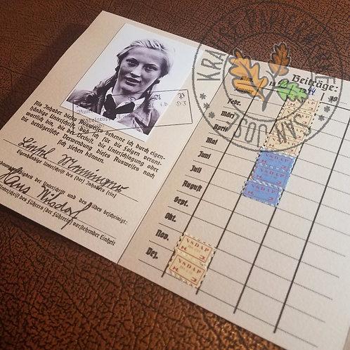 League of German Girls (BDM HJ) Membership ID (Bund Deutscher Mädel Mitglieds-Ausweis) - customizable reproduction