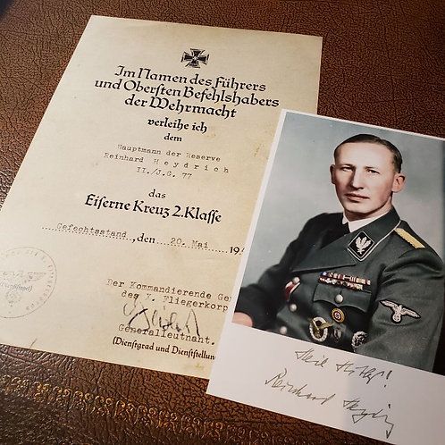 Iron Cross 2nd Class - award certificate for Reinhard Heydrich signed by the Luftwaffe General Hans Geisler with signed photo