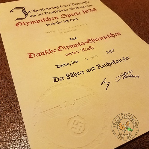 Olympic Decoration 2nd class - Certificate