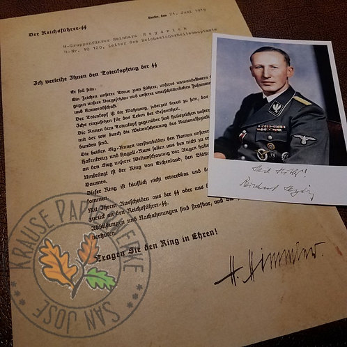 Conferral letter from Himmler to Heydrich awarding him SS-Honour Ring (Totenkopf Ring). Signed photo of Heydrich included.