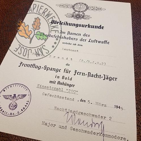 Award certificate for Front Flying Clasp of Luftwaffe for Long-Range Night Fighters; Frontflugspange für Fernnachtjagdverbänd