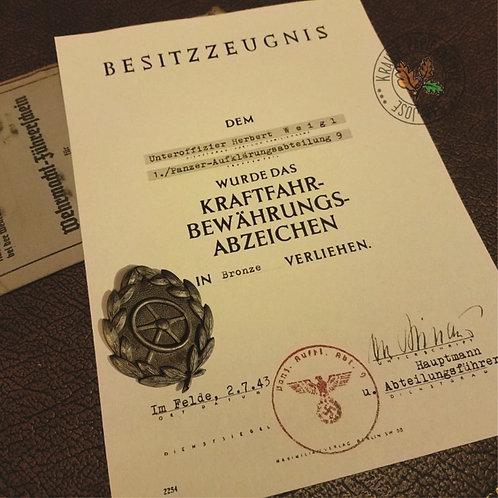 Driver Proficiency Badge award certificate. Kraftfahrbewährungsabzeichen Besitzzeugnis. Krause's customizable reproduction.