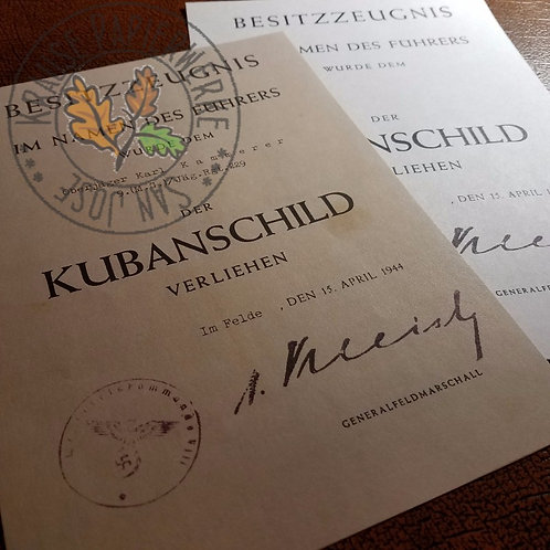 Kuban Shield (Ärmelschild Kuban) award certificate (customizable reproduction)