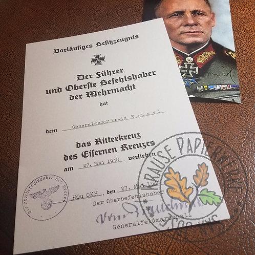 Knight's Cross Preliminary Award Certificate (Ritterkreuz Vorläufiges Besitzzeugns) for Erwin Rommel