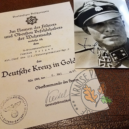Joachim (Jochen) Peiper - German Cross preliminary award document/certificate/citation with autographed photo (black & white)