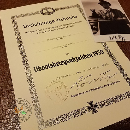 Customizable U-Boot War Badge award citation/document/certificate (U-Boot-Kriegsabzeichen Verleihungsurkunde). Erich Topp.