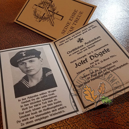 German ww2 deathcard (Sterbebild) - Kriegsmarine - customizable reproduction - get your own!
