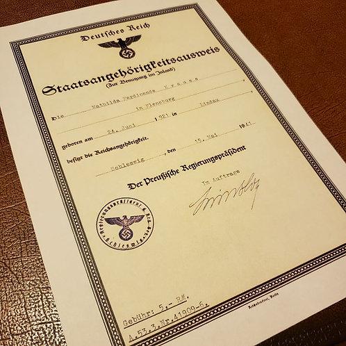 German Citizenship Certificate (Staatsangehörigkeitsausweis) - customizable document