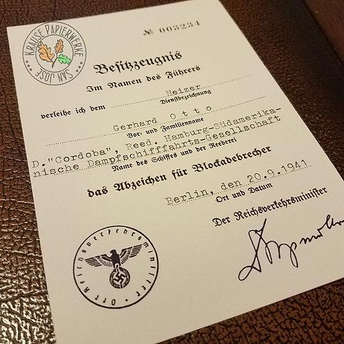 WW2 German Blockade Runner Badge award document / citation (Abzeichen für Blockadebrecher Besitzzeugnis / Verleihungsurkunde)
