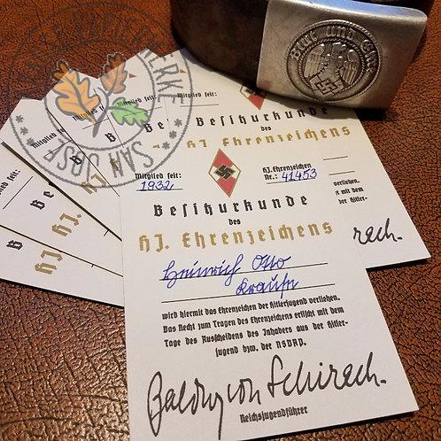 Golden HJ (Hitlerjugend) Honor Badge (Ehrenzeichen) - Award Certificate customizable reproduction