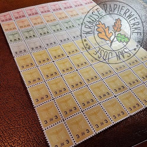 Prussian Police revenue stamps sheet - 2RM, 3RM, 5RM, 25RM and 50RM (Staatliche Polizei Preussen - Verwaltungsgebühr Marke)