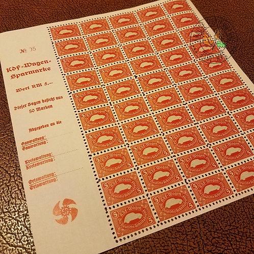 "Volkswagen Beetle red savings stamps (KdF-Wagen Sparmarke). Kraft durch Freude ""People's Car""."