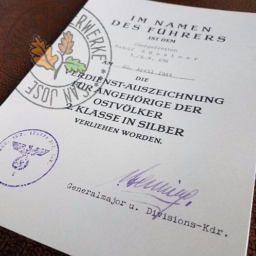 Customizable Reproduction of Ostvolk Medal Award Certificate