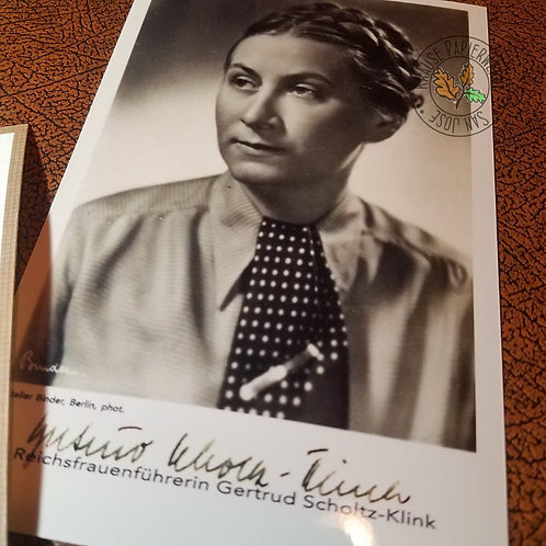 Gertrud Scholtz-Klink - signed / autographed black and white photo of the German leader of BDM