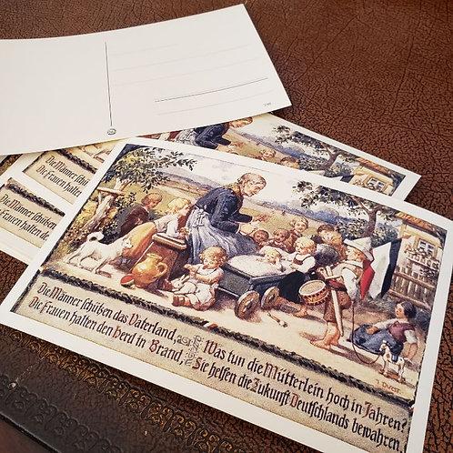 """German ww1 postcard """"Männer schützen das Vaterland, Frauen halten den Herd in Brand, was tun die Mutterlein hoch in Jahren?"""""""