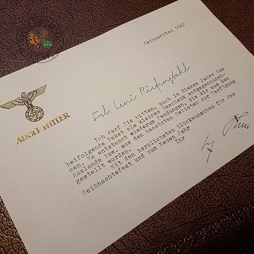 Christmas Letter from Adolf Hitler - customizable with any year and name! Gold-gilded stationary.