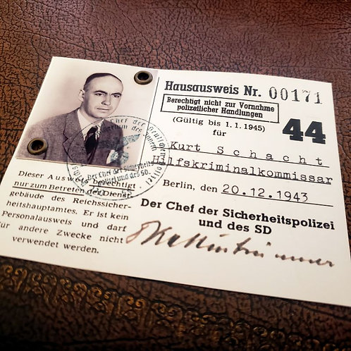 Kurt Schacht - entry pass for Reich Main Security Office (Hausausweis Reichssicherheitshauptamt / RSHA)