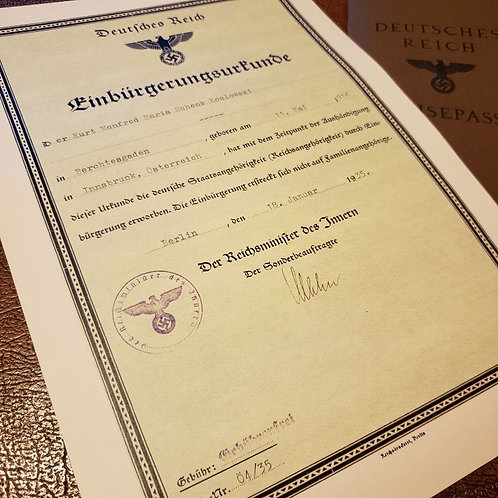 Reproduction of Naturalization Certificate of the Third Reich (Einbürgerungsurkunde) from Krause Papierwerke