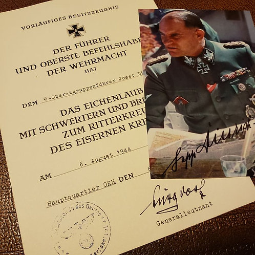 Josef (Sepp) Dietrich - knight's cross with oak-leaves and diamonds along with autographed photograph in color