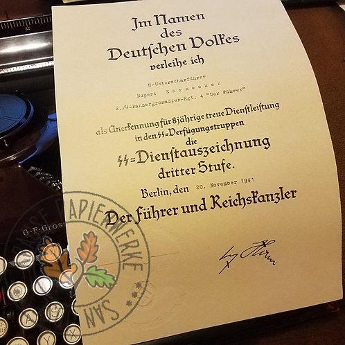 SS Dienstauszeichnung dritter und vierter Stufe Verliehungsurkunde; Reproduction of certificate for SS Long Service Award