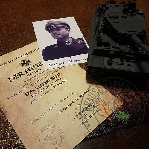 Award certificate for Waffen-SS Panzer Ace - Michael Wittmann. Comes with autographed photo.