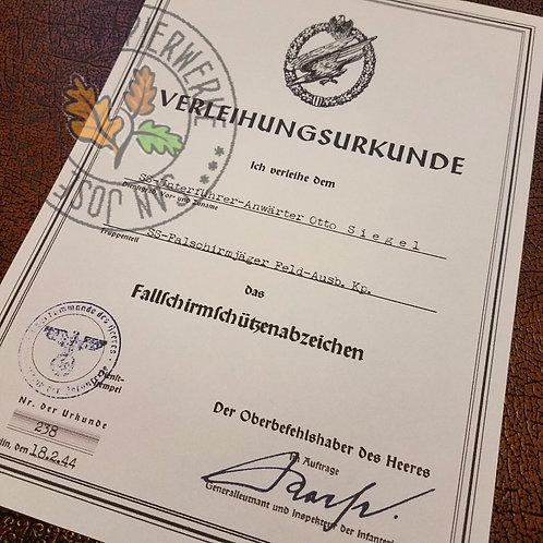 Wehrmacht Paratrooper Badge Award Certificate (Fallschirmschützenabzeichen Verleihungsurkunde) - Heer (Army) version