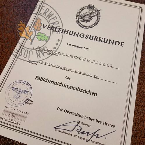 Army Paratrooper Badge - Certificate | krausepapierwerke