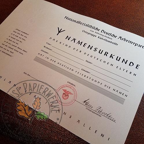 Child-naming certificate issued by NSDAP Ortsgruppenleiter in Kiel (Namensurkunde)