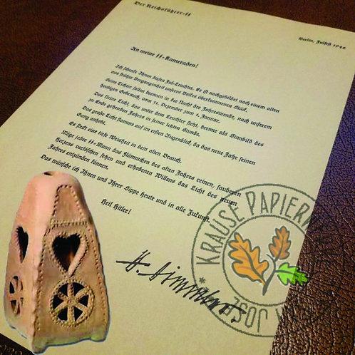 SS Julleuchter 1942  - Award Letter Reproduction from Krausepapierwerke signed by Heinrich Himmler