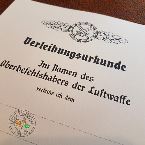 Front Flying Clasp of Luftwaffe for a Air to Ground Support Fighters - award certificate, document, citation